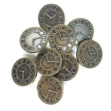 Knopf Clock Ø 28 mm 8 Stk. antik gold