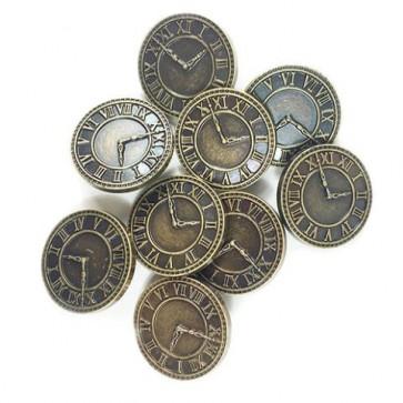 Knopf Clock Ø 28 mm 8 Stk. antik gold