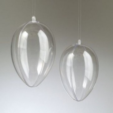 Kunststoffei glasklar teilbar mit Loch (PS) 140 mm