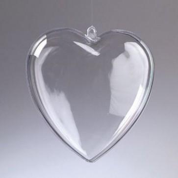 Kunststoffherz glasklar teilbar (PS) 140 mm