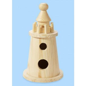 Holz-Leuchtturm 7,5 x 15 cm