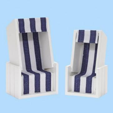 Strandkorb weiß/blau 12 x 7 x