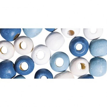 Holzperlen für Deko, 9mm ø, h.blau/d.blau/weiß/beige, SB-Btl 60Stück