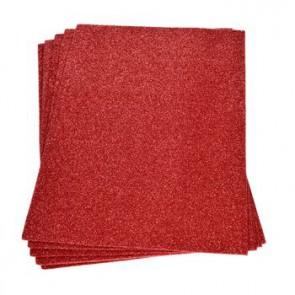 Moosgummiplatte Glitter rot 200 x 300 x 2 mm