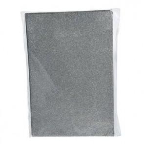 Moosgummiplatte Glitter silber 200 x 300 x 2 mm