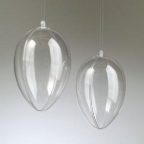 Kunststoffei glasklar teilbar mit Loch (PS) 120 mm