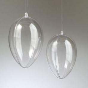 Kunststoffei glasklar teilbar mit Loch (PS) 160 mm