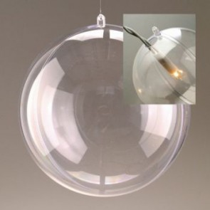 Kunststoffkugel glasklar teilbar mit Loch (PS) 100 mm