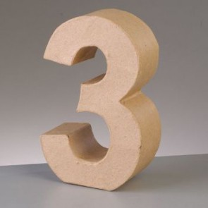 Pappzahl - 3 - H 5 x B 3,5 x T 2 cm
