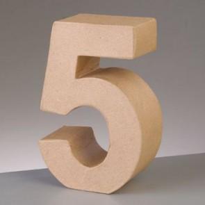 Pappzahl - 5 - H 5 x B 3,8 x T 2 cm
