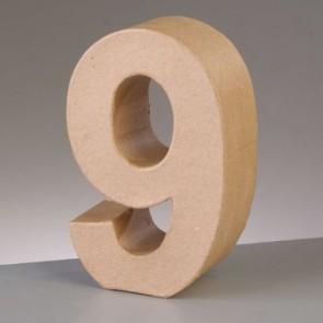 Pappzahl - 9 - H 5 x B 3,6 x T 2 cm