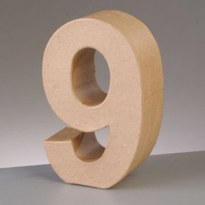 Pappzahl - 9 - H 10 x B 6,5 x T 3 cm