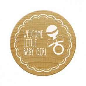 Woodies Stempel Welcome little baby girl ø 30 mm