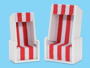 Strandkorb weiß/rot 10 x 6 x