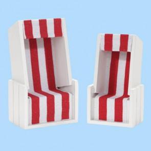 Strandkorb weiß/rot 12 x 7 x