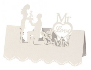 Tischkarte Mr. & Mrs. I ca. 12,5x9cm creme 5St.