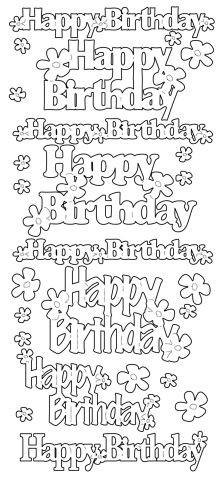 Konturensticker   Happy Birthday   silber