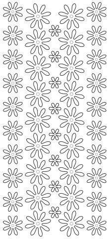 Konturensticker   Blüten II   silber