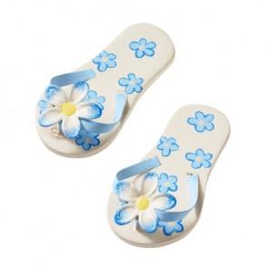 Flip-Flops, 4,5 cm, blau mit Blume, holz-metall