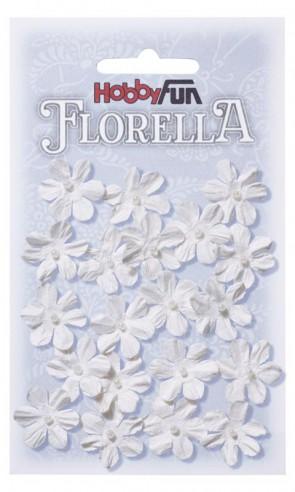 FLORELLA-Blüten aus Maulbeer-Papier, 2 cm, weiss, Btl. a 20 St.
