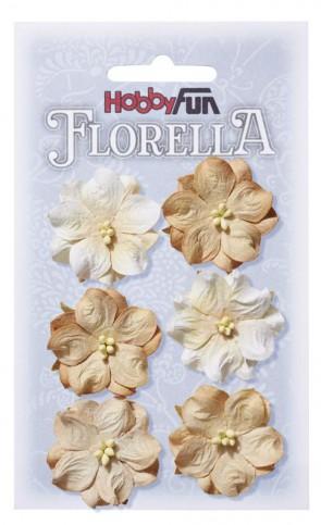 FLORELLA-Blüten aus Maulbeer-Papier, 3,5 cm, beige, Btl. a 6 St.