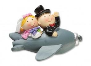 Hochzeitsfigur  Paar im Flugzeug  2D 6,5cm