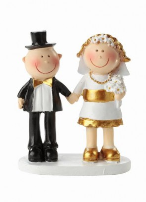 Hochzeitsfigur Jubiläumspaar gold 5,5cm