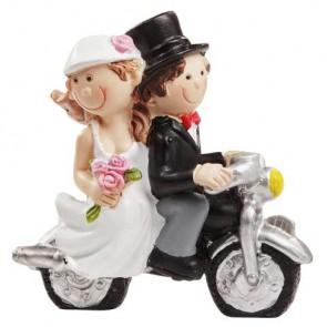 Hochzeitsfigur  Paar mit Motorrad  6x5cm