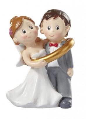 Hochzeitsfigur  Hochzeitspaar im Ring  5cm