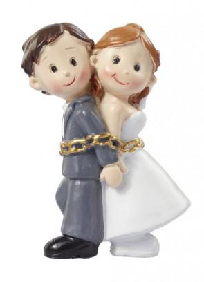 Hochzeitsfigur  Hochzeitspaar in Ketten  5cm