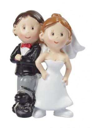 Hochzeitsfigur  Paar mit Fußfessel  5cm