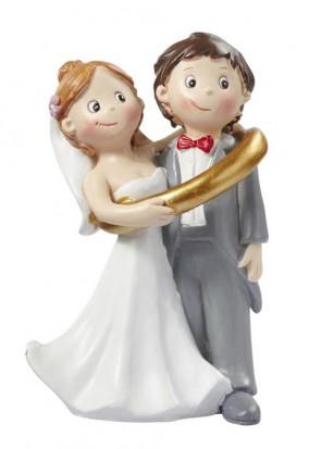Hochzeitsfigur  Hochzeitspaar im Ring  8cm
