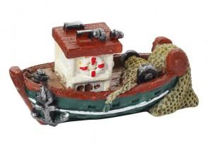 Fischerboot 6,5 cm, grün/brau