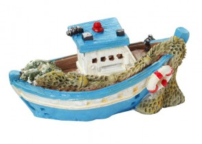 Fischerboot 6,5 cm, blau/weis