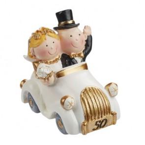 Hochzeitsfigur  Goldpaar im Auto  stehend 7x4cm
