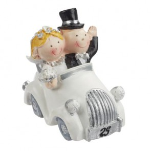 Hochzeitsfigur  Silberpaar im Auto  stehend 7x4cm