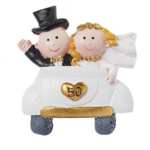 Hochzeitsfigur  Goldpaar im Auto  50  2D