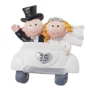 Hochzeitsfigur  Silberpaar im Auto  25  2D  5cm