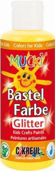 MUCKI Bastelfarbe Glitter-Gelb 80 ml