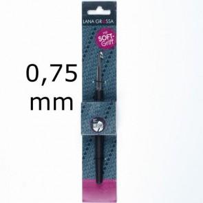 Garnhäkelnadel m.Soft-Griff 14cm 0,75mm