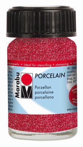 Marabu-Porcelain 532, 15 ml Glitter-Rot