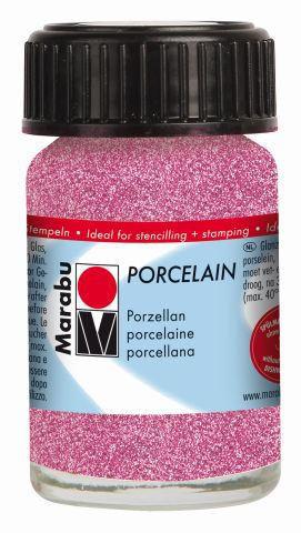 Marabu-Porcelain 533, 15 ml Glitter-Rosa