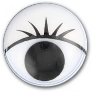 Wackelaugen mit Wimpern, ø 7mm, rund, 20 Augen