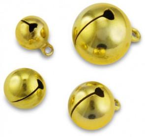 Schellen, rund, ø ca.14 mm, 6 Stück, gold