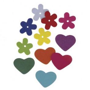 Crepla-Blumen-Herzen, 2 Sorten, gemischt, 2,5-3 cm, SB-Btl. 140 Stück