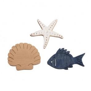 Holz Streuteile Fisch,Muschel,Seestern, 3-3,5cm, sortiert, SB-Btl 18Stück