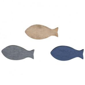 Holz Streuteile Fische, 2,5-3cm, sortiert, SB-Btl 18Stück
