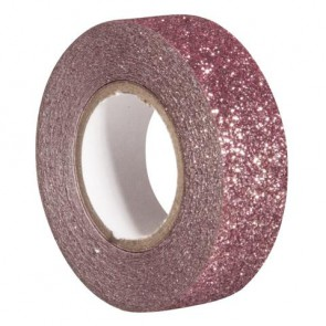 Glitter Tape, altrosa, 15mm, Rolle 5m