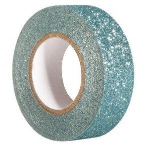 Glitter Tape, lagune, 15mm, Rolle 5m