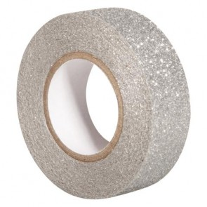 Glitter Tape, silber, 15mm, Rolle 5m